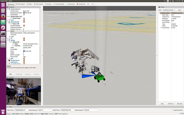 Rviz displaying depth map from Xbox Kinect