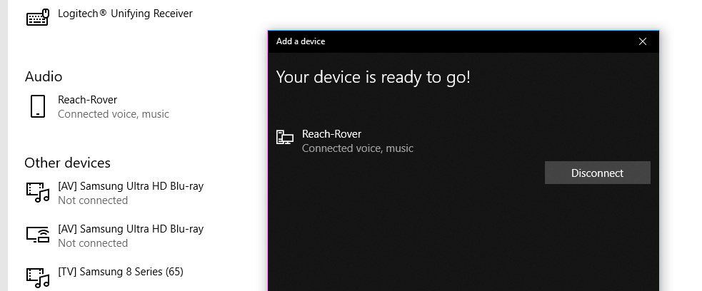 Windows 10 Bluetooth connection, Reach RS and MicroSurvey