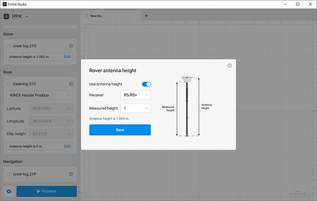 Configuração de altura e tipo da antena